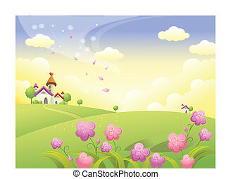 Rolling landscape and house - This illustration is a common...