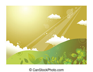 Rolling landscape and sky - This illustration is a common...