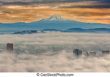 Rolling Low fog over City of Portland