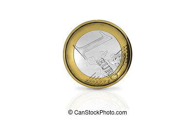 Rolling one euro coin in loop
