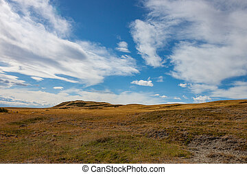 Rolling Open Country in Southern Alberta Canada under Blue Sky