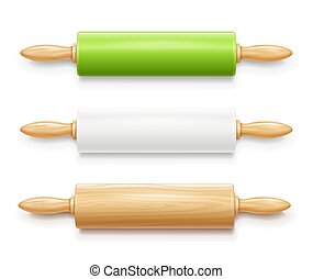 Rolling pin for dough. Kitchen equipment. Vector illustration.