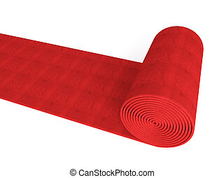 rolling red carpet - 3d red carpet on white background