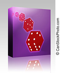 Rolling red dice illustration box package