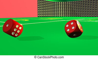 Rolling red dices against a casino background