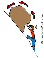 An image of a man rolling a rock uphill.