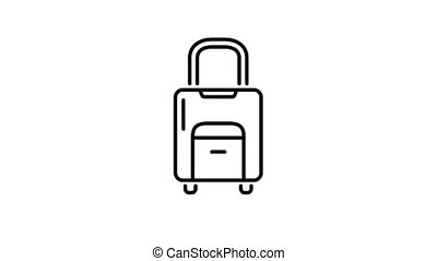 Rolling Suitcase line icon is one of the Population and Economy icon set. File contains alpha channel. From 2 to 6 seconds - loop.