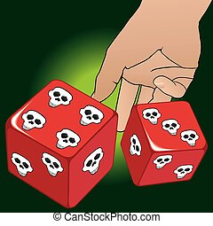 Rolling The Dice - Man is rolling dice with death's head...