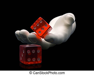 Photo of a hand rolling dice isolated on a black background
