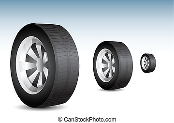 illustration of tyre rolling on floor on abstract background