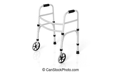 Rolling walker isolated on white background