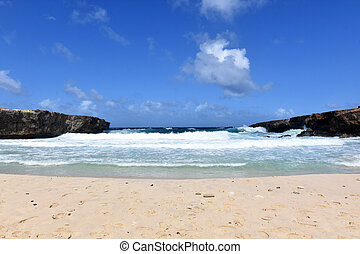 Rolling Waves Tumbling Ashore on a Beach in Aruba