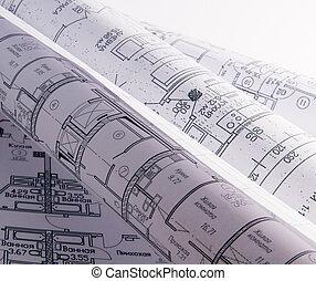 rollo, arquitectónico, planes