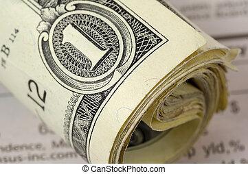 rollo, de, dólares
