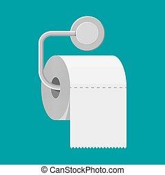 rollo de papel, holder., servicio, blanco