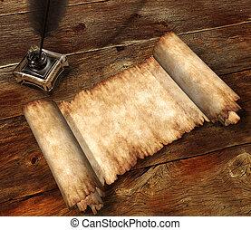 rollo, de, pergamino, en, tabla de madera, 3d, bodegón