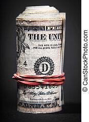 rollo, dinero, primer plano