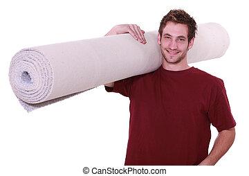 rollo, hombre, joven, alfombra