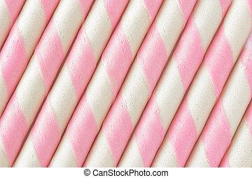 rollo, raya, fondo., oblea, rosa
