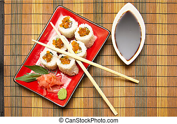 rollo sushi, blanco, placa