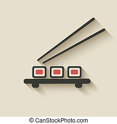 rollo sushi, icono