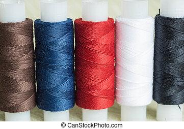 rollos, algunos, arriba, textil, hilos, plano de fondo, ...
