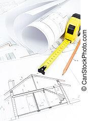 rollos, de, arquitectura, cianotipo, y, trabajo, herramientas