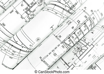 rollos, de, arquitectura, planos
