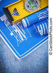 rollos, de, azul, ingeniería, dibujos, nivel, en, metálico, plano de fondo