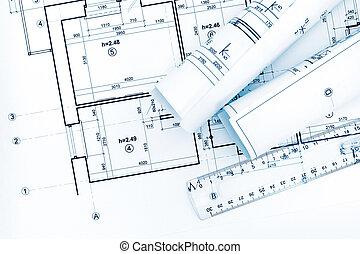 rollos, de, dibujo, papel, con, planos, y, arquitectónico, planes
