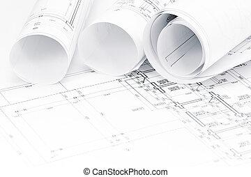 rollos, de, dibujos arquitectónicos