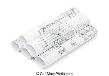 rollos, de, ingeniería, dibujos