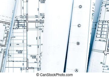 rollos, de, modelo arquitectónico, planes, y, ingeniería, técnico, dibujos