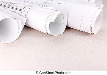 rollos, de, planos, y, dibujos arquitectónicos