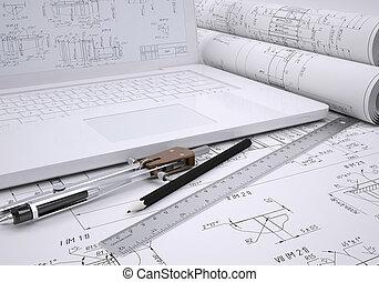 rollosde papel, ingeniería, dibujos, y, computador portatil