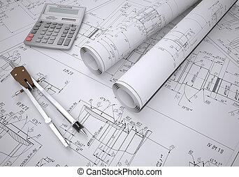 rollosde papel, ingeniería, dibujos, y, herramientas