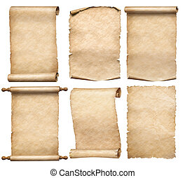 rollosde papel, o, parchments, viejo, aislado, papeles, ...