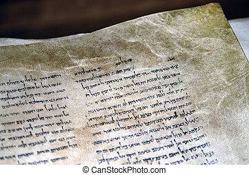 rollosde papel, qumran, muerto, israel, cuevas, mar