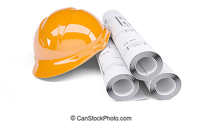 Rolls of architectural drawings and orange construction helmet. Isolated on white background