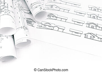 rolls of architectural drawings
