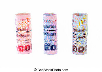 Rolls of bank Thai currency on white background