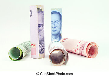 Rolls of banknote of Thai currency