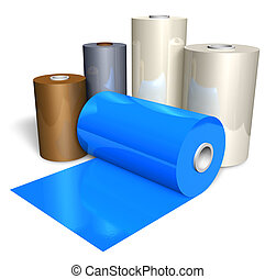 Rolls of color plastic tape isolated on white background