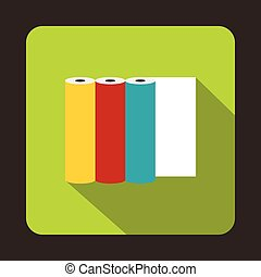 Rolls of colored paper icon, flat style