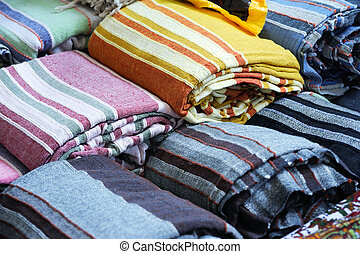 Rolls of colorful fabric