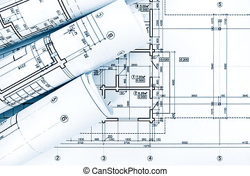 Rolled building plans on architectural blueprint background rolls of drawing paper with architectural project plans on blueprint malvernweather Choice Image