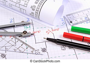 Rolls of electrical diagrams and accessories for drawing