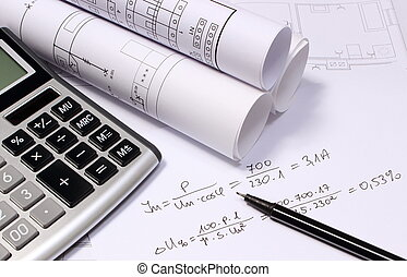 Rolls of electrical diagrams, calculator and mathematical calculations