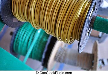 Rolls of Electrical Wire - Green and Yellow rolls of...
