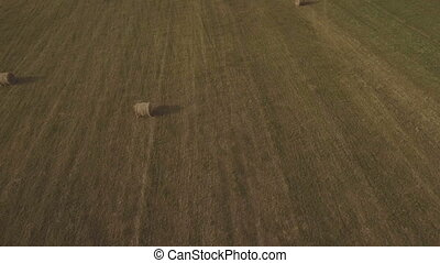 Rolls of haystacks on the field.Aerial video.